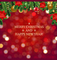 red background with bokeh and xmas border vector image vector image