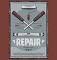 retro poster of ruler and chisel tool vector image