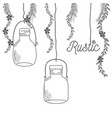 rustic glass jar with leaves hand drawn vector image vector image