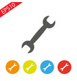 service icon wrench key with cogwheel gear sign vector image vector image