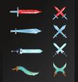 set of cartoon fantasy and epic swords vector image vector image