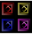 set of multicolored neon square background with vector image vector image