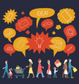 set of walking people with speech bubbles vector image vector image