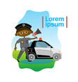small boy policeman over police car african vector image vector image