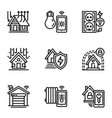 smart building icon set outline style vector image vector image
