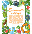 summer holidays flat poster vector image vector image