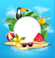 summer poster with toucan bird watermelon sea vector image vector image