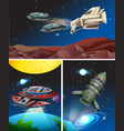 three scenes with spaceships in space vector image vector image