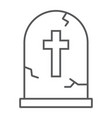 tombstone thin line icon halloween and death vector image vector image