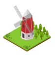 Traditional Old Windmill Isometric View vector image vector image