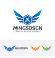 wings design logo design vector image