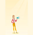young woman speaking into a megaphone vector image vector image