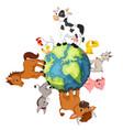 farm animal standing around the world vector image
