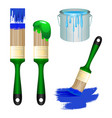 thick brushes and bucket full of paint set vector image