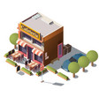 3d isometric cafeteria restaurant vector image vector image