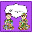 Background with baby girl and boy twins vector image vector image