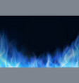 blue fire flame realistic background vector image vector image