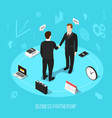 business partnership isometric background vector image vector image