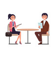 businessperson man and woman dressed in formal vector image vector image