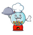 chef with food gumball machine mascot cartoon vector image vector image
