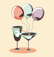 cocktails and balloons vector image vector image