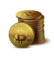 coins bitcoin on white background vector image vector image