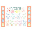 collection of easter bunny and egg vector image