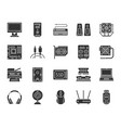 computer black silhouette icons set vector image