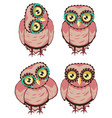 curious owl in teal glasses vector image vector image