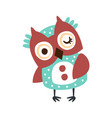 cute cartoon owl bird winking colorful character vector image