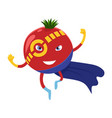 cute happy tomato superhero cartoon character a vector image