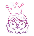 degraded outline girl head wearing glasses with vector image