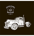 diesel truck ratrod dieselpunk 2x4 white on black vector image