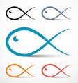 Fish Outline Simple Symbols Set vector image vector image