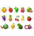 funny various cartoon fruits vector image