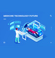 futuristic medicine diagnostic room with doctor vector image vector image
