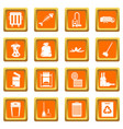 garbage thing icons set orange vector image vector image