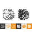 gingerbread cookie bird black line icon vector image vector image