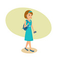 girl with ear-phones in ears listening music vector image
