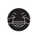 grinning emoji wit h face black concept vector image vector image