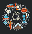hello winter greeting card seasonal sport and vector image vector image