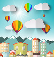 Hot Air Balloons on Sky with City and Mountains vector image vector image