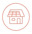 House with solar panel line icon vector image