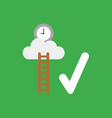 icon concept of wooden ladder and clock on cloud vector image