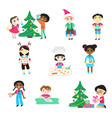kids on christmas cartoon characters boys vector image