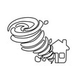 line tornado taking and destruction a house vector image
