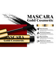 luxury mascara gold eyelash applicator brush vector image vector image
