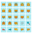 Mail and message icon set in flat design style For vector image vector image