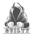 man in hood in handcuffs vector image