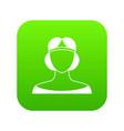 medieval woman in tiara icon digital green vector image